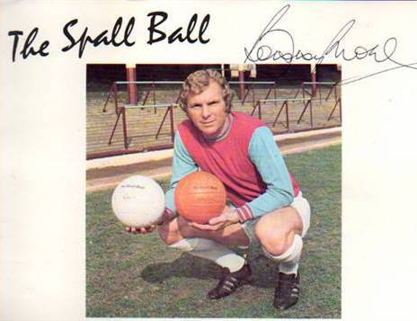Bobby Moore, famous England Captain in the England 1966 World Cup endorsing the renowned Spall Ball