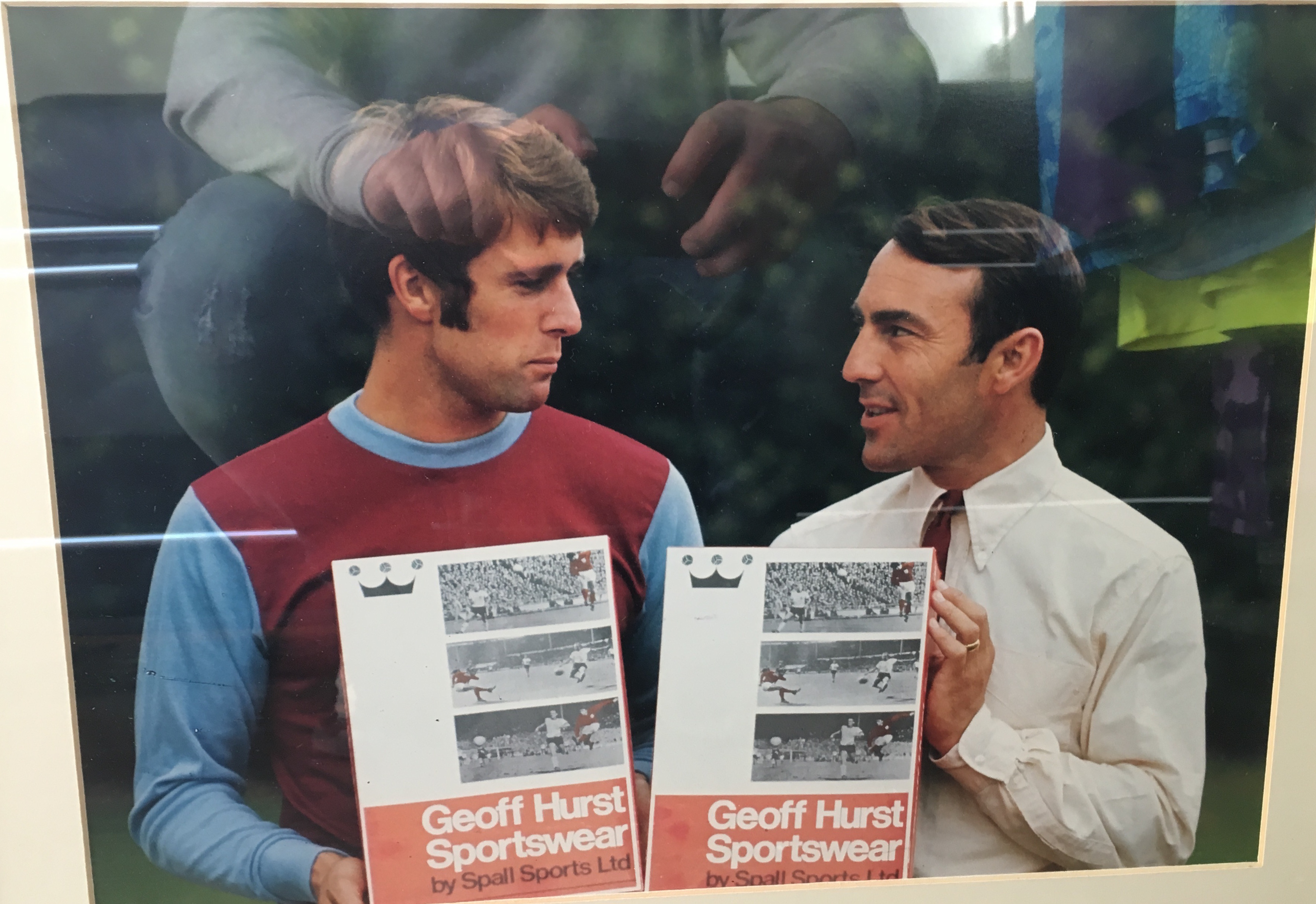 Geoff Hurst had his entire sportswear range manufactured by Spall and in this picture you can see the kits themselves being displayed