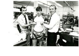 Barry Spall and Bobby Moore in the 1980s altering a Southend Shirt