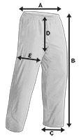 Martial Arts Trousers Size Specification Icon