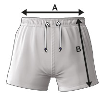 Unisex Rugby Shorts Size Specification Icon
