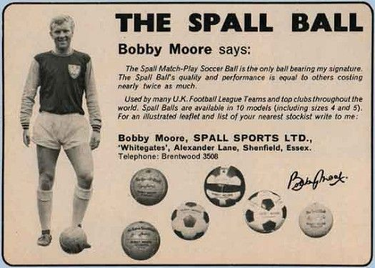 Bobby Moore in a newspaper advertisement for the Spall Ball