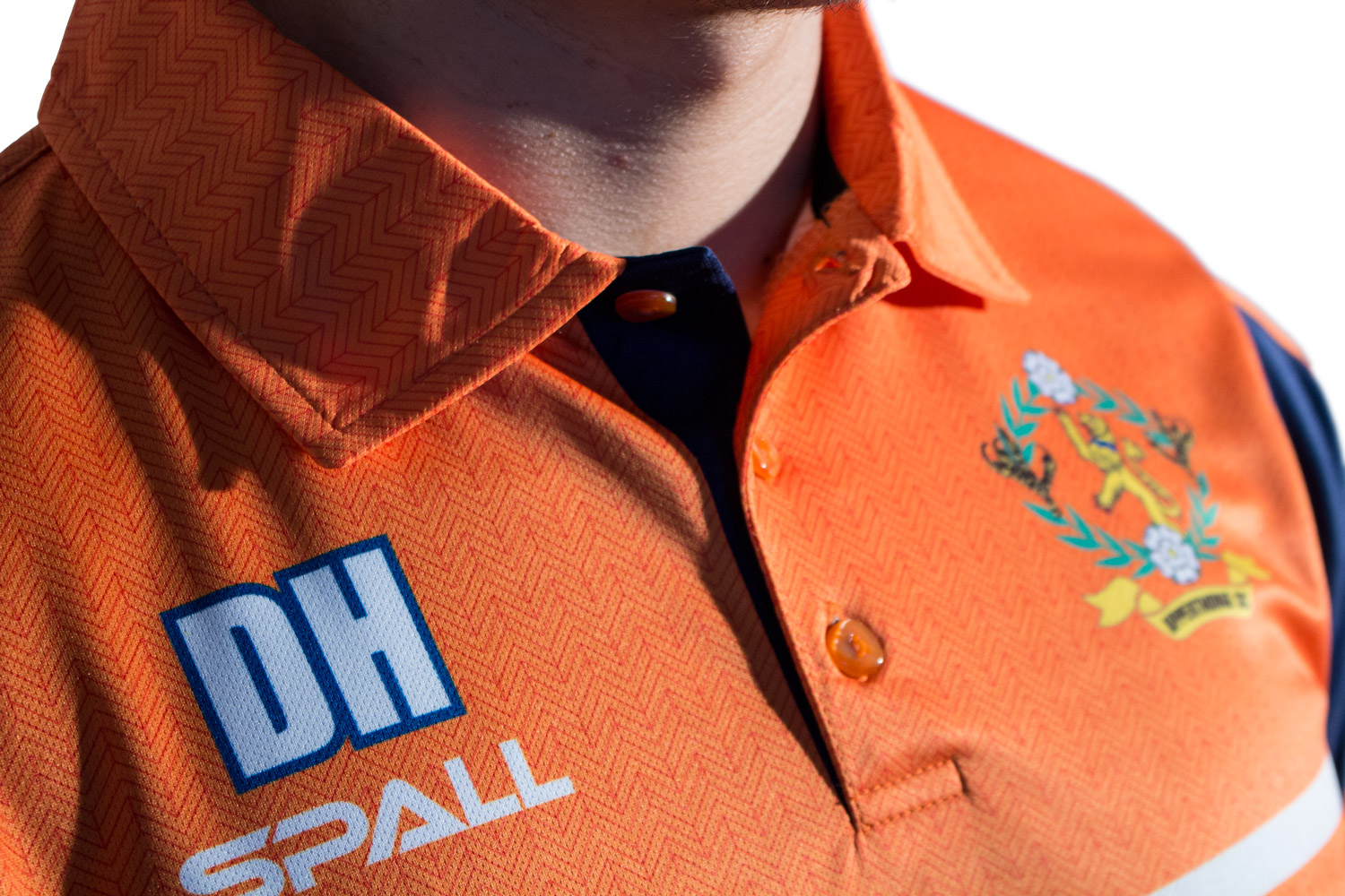 Spall Part Sublimated Polo Collar Close Up