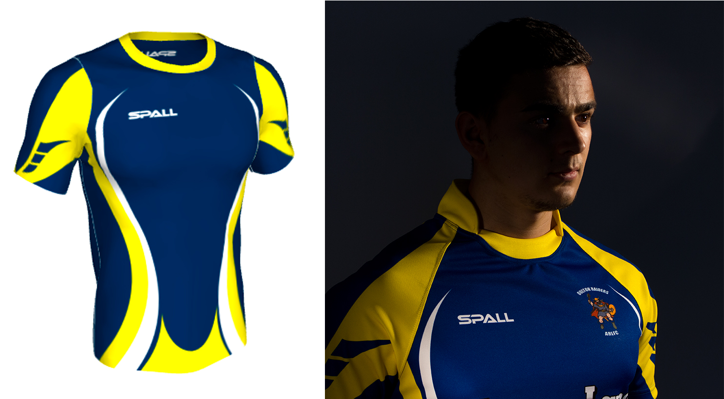 Spall 3D kit builder showing rugby shirt and the real thing